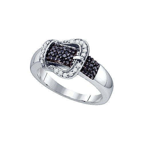 Buckle Diamond Ring (Sonia Jewels Size 10-925 Sterling Silver Black Diamond Belt Buckle Band Ring (1/3 Cttw))