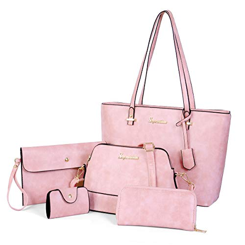 (Soperwillton Handbag Set for Women Tote Purse and Handbags Satchel Shoulder Bag 5pcs Purse Set)