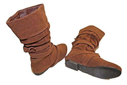 Mädchen Stiefel Bi Wildleder multi Patentiertem komplett gefüttert Braun - Camel