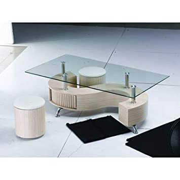 S Shape Glass Top Beech Coffee Table with Storage Amazoncouk