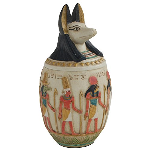 Egyptian Canopic Jars (Egyptian Canopic Jar of Duamutef Statue, 10 Inches Tall)