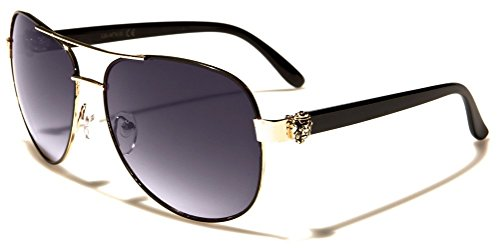 Kleo Lion Head Classic Pilot Aviator Sunglasses (Black & Gold Frame, Black - Medusa Sunglasses Head