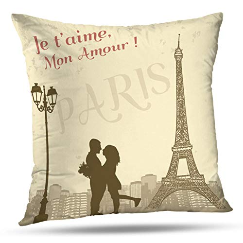 LALILO Throw Pillow CoversRetro Paris Grunge City Scape French Love Silhouette Double-Sided Pattern for Sofa Cushion Cover Couch Decoration Home Bed Pillowcase 18x18 inch