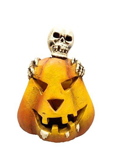Lightahead Solar Powered Skeleton Pumpkin Light Halloween Decoration Light Outdoor Garden Light Multi-Color Changing Skull