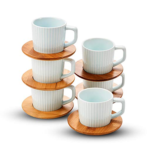 - Porcelain Espresso Cup Set Ceramic Tea Cups and Saucers Set Demitasse Coffee Cups China Cappuccino Cups and Saucers Turkish Espresso Coffee Cups  by SOPRETY 3.4oz Blue