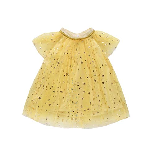Children Kid Infant Girls Star Print Tulle Dress Bling Net Yarn Princess Dress Clothes(4T) Yellow