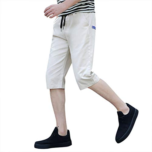 ANJUNIE Men's Showdown Golf Shorts Solid Trunks Board Beach Elastic Waist Short Casual Pants(Beige,XXXL) ()