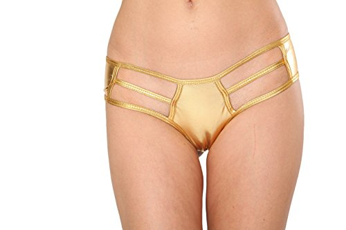 Micro Booty Shorts (Gold Metallic Cut out Micro Booty Shorts Rave Medium Large)