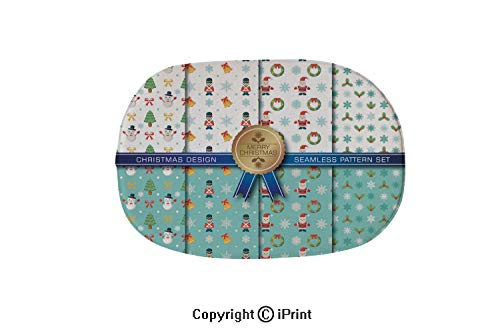 Oval Shaped Decorative Super Soft Design Non Slip Area Rug Carpet Doormat,Christmas Seamless Pattern set2,15.7