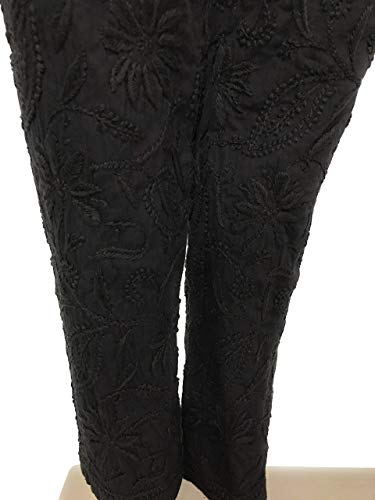 Lucknow Chikankari stretchable cotton leggings,narrow pants/Comfortable ankle length narrow pants leggings Black/Hand embroidered/One size fits most (Black) LENGTH :37 Inches