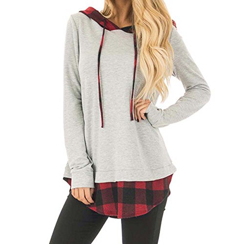 2cc31084b054c6 Women Plaid Layered Hoodie Sweatshirt Crop Top Ladies Long Sleeve Shirt  Jumper Pullover Tops Blouse on