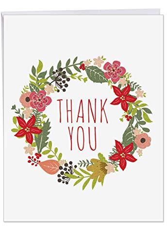 Jumbo Size 'Watercolor Wreaths' Thank You Card (Big