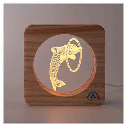 (3D Dolphin LED Night Light Illusion Night Light Creative Wooden Frame USB Night Lamp Warm White Eye Protection Light Home Hall Kids' Room Nursery Décor Bed Night Lamp Kids Baby Girls Adult Gift)