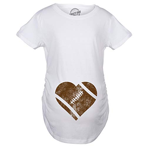 Maternity Football Heart Pregnancy Tshirt Cute Fall Sports Tee for Mom to Be (White) - S