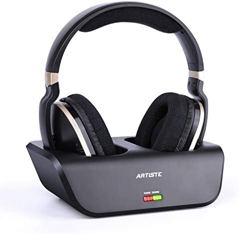 ARTISTE Wireless TV Headphones with Optical for Smart TV, Digital Stereo and a couple of.4GHz RF Transmitter and Charging Station, 100 foot Range and Rechargeable 20 Hours Battery, Black and Gold