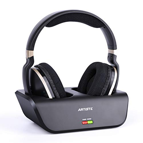 (ARTISTE Wireless TV Headphones with Optical for Smart TV, Digital Stereo and 2.4GHz RF Transmitter and Charging Station, 100 foot Range and Rechargeable 20 Hours Battery, Black and Gold )