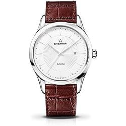 Eterna Men's 2520.41.11.1259 Artena Silver Dial Swiss Brown Leather Watch