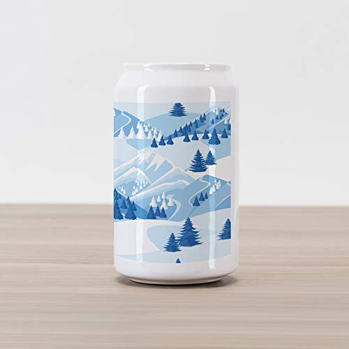 - Ambesonne Northwoods Cola Can Shape Piggy Bank, Snowy Mountains and Fir Forest Winter Adventure Pastoral Landscape, Ceramic Cola Shaped Coin Box Money Bank for Cash Saving, Blue Baby Blue White