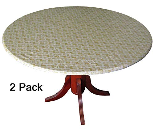- WeavePrint 2 Pack - Basketweave Tan Fitted Tablecloths, Tablecovers, Table Covers in Neutral Shades That Blend with Any Decor