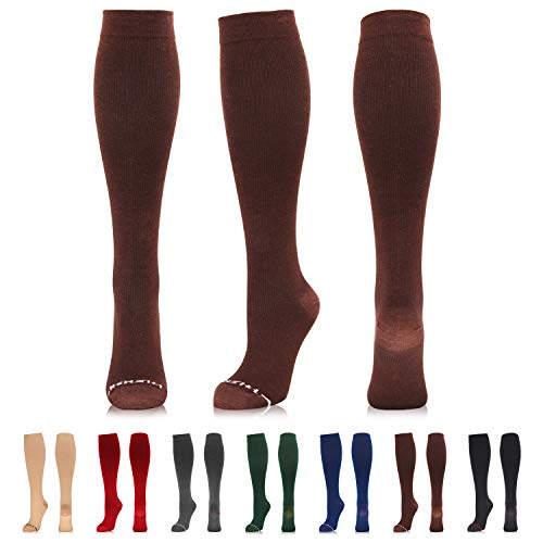 NEWZILL Compression Dress Sock (15-20mmHg) for Men & Women - Cotton Rich Comfortable Socks - Best Stockings for Business Casual, Running, Medical, Athletic, Edema, Diabetic (L/XL, Brown)
