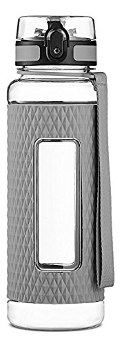 Swig Savvy Sports Water Bottle - with Silicone Sleeve. Fruit Infuser Water Bottle Filter and Leak Free Flip Top, EZ Open with One Click,Tritan Co-Polyester Plastic, 32oz Gray