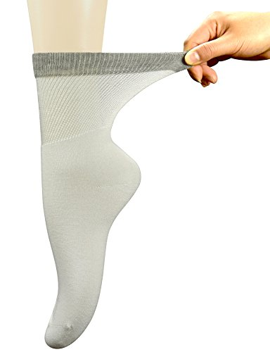 - Yomandamor Womens Bamboo Diabetic Crew Socks With Seamless Toe,6 Pairs Size 9-11(White)