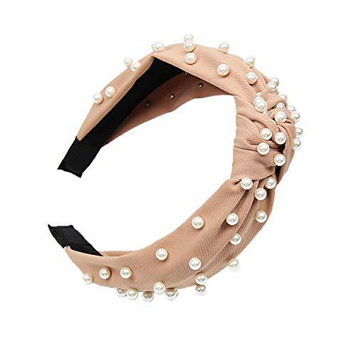 Bow Knot Beading Hairband Women Hair Head Hoop Sweet Girls Hair Headband Pearl Decor Fashion Headdress]()
