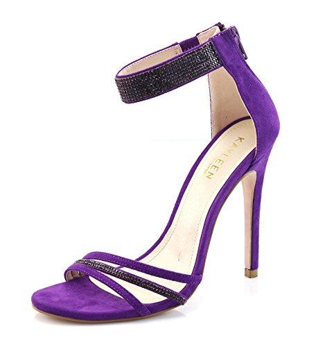 FOREVER VOGUE Women Open Toe High Stiletto Heel Rhinestone Ankle Strap Back Zipper Dress Sandals Pumps for Wedding,Party