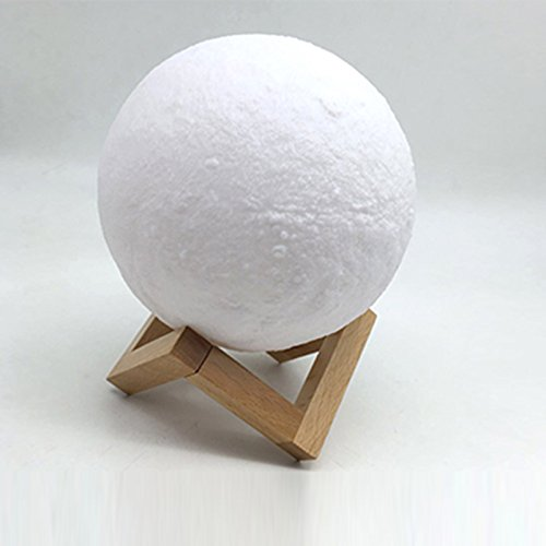 Moon Lamp, Night Light. Lighting, LED, 3D Print, Warm and Cool, White Dimmable, Touch Switch, Brightness, 3000k and 6000k with USB Charging, Rechargeable Home Decorative Lights, Desk Diameter 5.9 inch