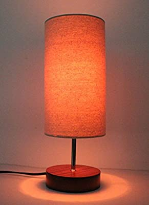 "17""H Minimalist Sandalwood Base Living Room Indoor Desk Lamp"