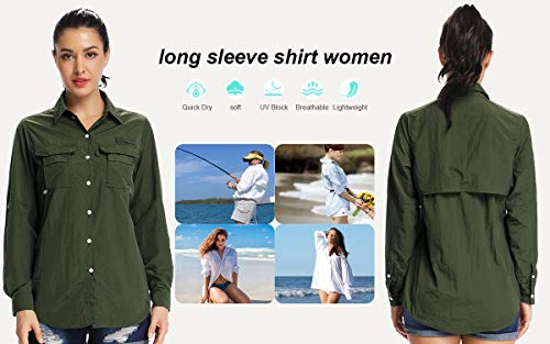 Women's Quick Dry Sun UV Protection Convertible Long Sleeve Shirts for Hiking Camping Fishing