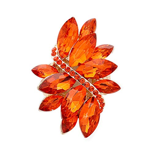 Orange Flower Ring - Rosemarie Collections Women's Dazzling Crystal Leaf Stretch Cocktail Ring (Orange)