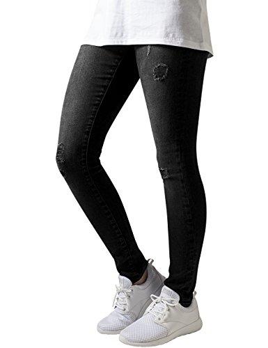 Urban Classics Ladies Ripped Denim Pants, Jeans para Mujer Negro (Black Washed)