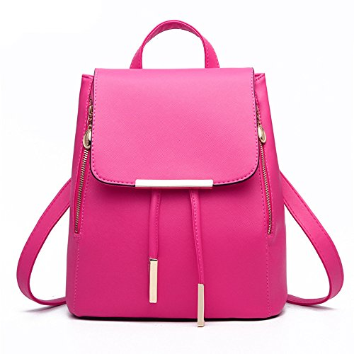 XIN BARLEY Casual Purse Fashion School Leather Backpack Shoulder Bag Mini Backpack for Women & Girls Rose Red