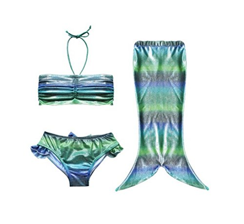 Taiycyxgan Girls 3pcs Swimmable Mermaid Tail Costume Swimwear Bikini Swimsuit Set Colorful Green 140cm/55.1