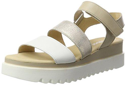 Gabor Shoes Fashion, Sandalias con Cuña para Mujer Blanco (weiss/powder/nude 21)