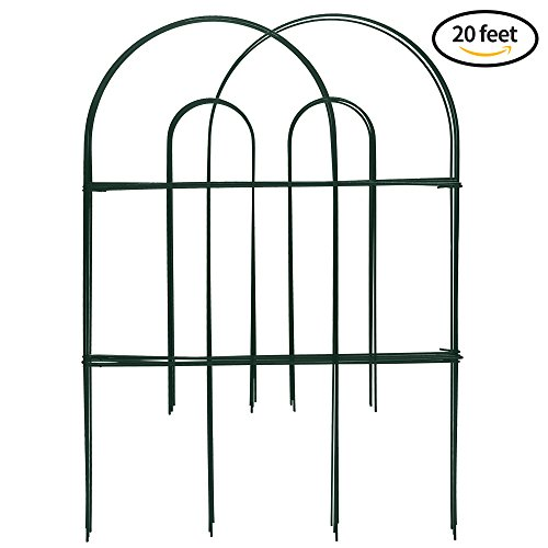 Amagabeli Decorative Garden Fence Green 24 in x 20 ft Rustproof Iron Landscape Wire Folding Fencing Ornamental Panel Border Edge Section Edging Patio Fences Flower Bed Animal Barrier for Dog Outdoor (Iron Fence Pool)