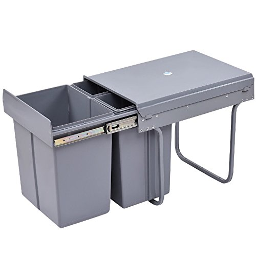 Recycle Bin Costume (Grey Plastic Rubbish Trash 10.5 Gallon 3 Compartment Recycling Bin Home Household Kitchen Office Built-In Trash Recyclables Non-Recyclables Waste Garbage Sorter Convenient Carry Handles On Inner Drum)
