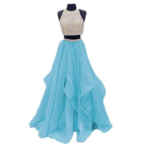 Dressytailor Two Piece Floor Length Organza Prom Dress Beaded Evening Gown