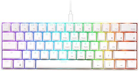 RK ROYAL KLUDGE RK61 Wired 60% Mechanical Gaming Keyboard RGB Backlit Ultra-Compact Brown Switch White