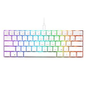RK ROYAL KLUDGE RK61 Wired 60% Mechanical Gaming Keyboard RGB Backlit Ultra-Compact Red Switch White