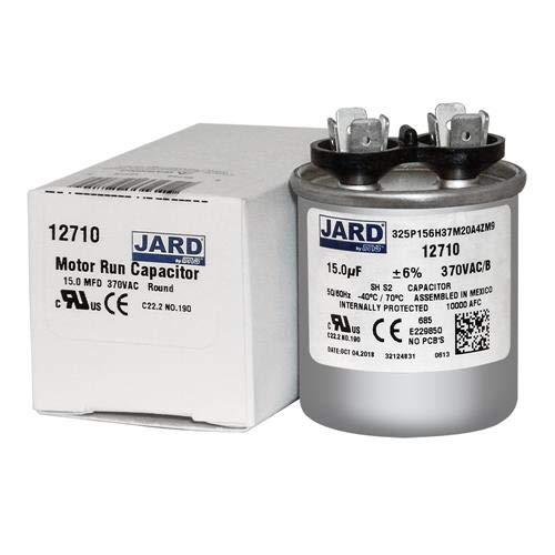 Motor Run Capacitor Round 15 uf MFD 370 Volt VAC 12710 ()