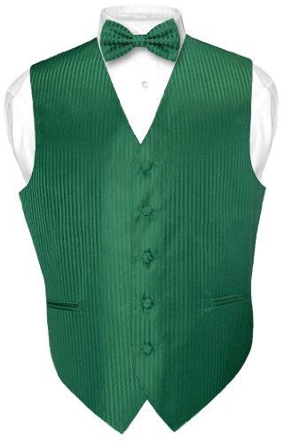 Dress Vest & BOWTie EMERALD GREEN Vertical Striped Design Bow Tie Set XS ()