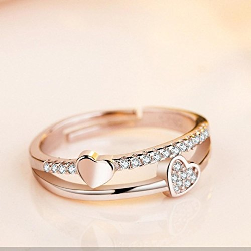 Sinwo Women Beauty Hollow Paw Print Love Heart Ring Open Adjustable Ring Jewelry Gift (Gold)
