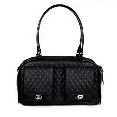 Petote Marlee Pet Carrier, Black Quilted