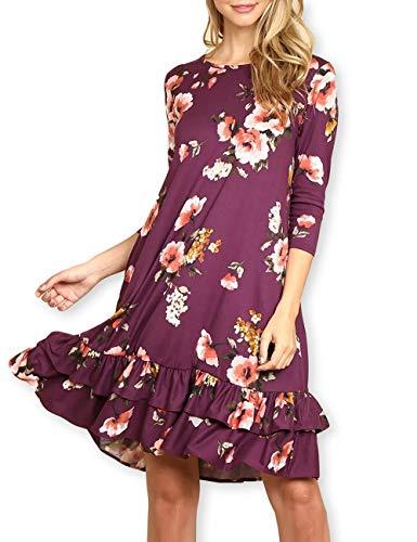 AOOKSMERY Elegant Women Floral Ruffled Hem Pocket Short 3/4 Long Sleeve A-Line Knee-Length Tunic Dress Purple