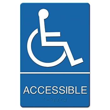 Headline Sign - ADA Sign Wheelchair Accessible, Tactile Symbol/Braille, Plastic, 6x9, Blue/White 4725 (DMi EA