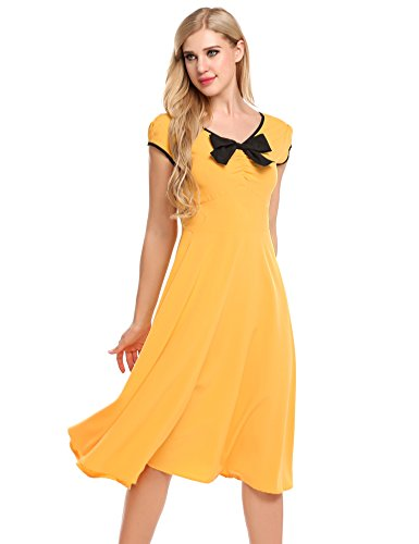 ACEVOG Damen Retro Vintage Kleid V Ausschnitt Kurzarm Sommerkleid ...
