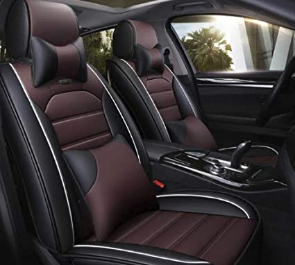 3D FRONTLINE Platinum Series PU Leather Car Seat Cover for Hyundai Elite  i20, Black and Red