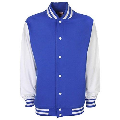 College Con Giacca bianco Blu A Contrasto Maniche Reale Unisex 7xHwHvq